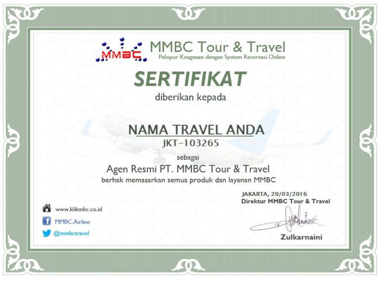 sertifikat agen mmbc